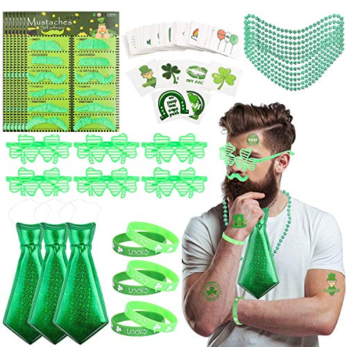 BEYUMI 201 Packs St Patrick es Day Accessoyparty Supplies Saint Patrick es Day Costume Set Necklace Tie Mustache Temporary Tattoo