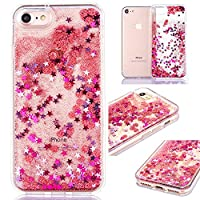 iPhone 7/8 Case Liquid,iPhone 7/8 Case Glitter,Pretty[Anti-Scratch] Cool 3D Bling Shiny Sparkle Glitter Funny Liquid Quicksand Flowing Floating Stars Creative Design Fish Scales Pattern Case,Pink