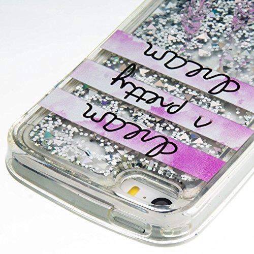 Roreikes Apple iphone SE 5 5S Coque,iphone SE 5 5S Case, étui souple transparent Cool 3D Flottant sables mouvants Étoile Bling Luxe Étincelle Design Cas Crystal Star douce couverture arrière shell cas 13#