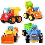 SWECOMZE Baby Spielzeug Spielzeugauto Baufahrzeuge 4 in Einem Set Traktor Bulldozer Kipper und Zementmischer f/ür Kinder Jungen M/ädchen