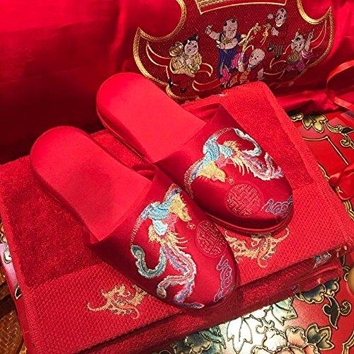TT&HUNLI Ciabatte da sposa rosse da sposa / scarpe da sposa rosse / pantofole di cotone da casa / pantofole da coppia indoor , 38-39 41-42