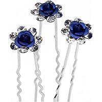 10 forcine per capelli con rose realizzate con strass, color argento, ideali per spose, matrimoni, balli scolastici