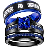 wedding ring set Two Rings His Hers Couples Rings Women's Black Gold Plated Blue Sapphire CZ Wedding Engagement Ring Bridal S