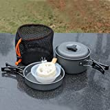#7: Zorbes 8pcs Outdoor Camping Cookware Cooking Picnic Bowl Pot Pan Set