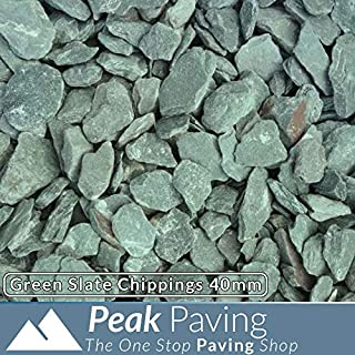 Green Slate Chippings 40mm | Aggregates | Pebbles | Gardens | Gravel | 20KG Bag