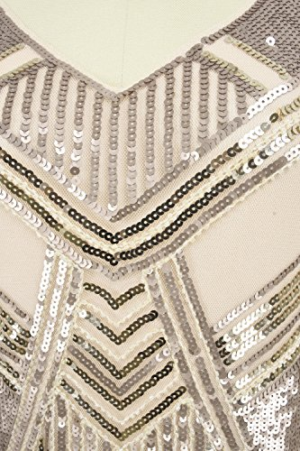 Kayamiya Damen 1920er Jahre Perlen Pailletten Maxi Lange Gatsby Flapper Abendkleid Champagne