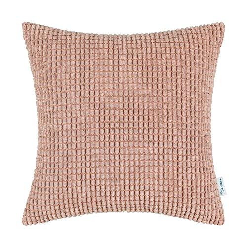CaliTime Kissenbezüge Kissenhülle Kissenbezug Komfortabler Supersoft Corduroy Corn Gestreifter Beidseitiger Wurfkissenbezug 55cm x 55cm Coral Pink -