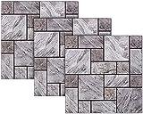 infactory Fliesen-Sticker: Selbstklebende 3D-Steinwandoptik-Fliesenaufkleber, 30 x 30 cm, 3er-Set (Fliesenabziehbilder)