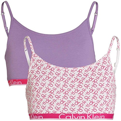 Calvin Klein GIRLS 2 Pack Modern Cotton String Bralette, White Logo Print / Chalk Violet