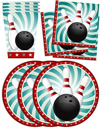 Bowling Fun Birthday Party Supplies Set Plates Napkins Cups Tableware Kit for 16