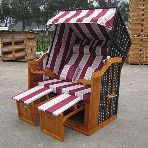 Zweisitzer Strandkorb mit klappbarer Rückenlehne für 2 Personen 118 x 80 x 160 cm (Rot /Weiss)