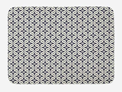 ZKHTO Geometric Bath Mat, Japanese Civilization Inspired Floral Arrangement Lattice Pattern Asian, Plush Bathroom Decor Mat with Non Slip Backing, 23.6 W X 15.7 W Inches, Dark Blue Cream -