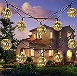 Solar String Lichter 20 Marokko Kugeln LED String Fairy Lights Dekorative Urlaub Weihnachtsbeleuchtung Outdoor Girlanden Hochzeit Dekorationen (warm white)