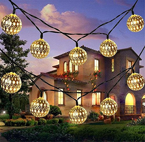 Solar String Lichter 20 Marokko Kugeln LED String Fairy Lights Dekorative Urlaub Weihnachtsbeleuchtung Outdoor Girlanden Hochzeit Dekorationen (warm white)