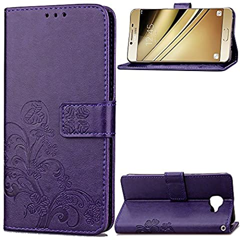 Samsung Galaxy C5 Case Leather, Ecoway Clover embossed Patterned PU