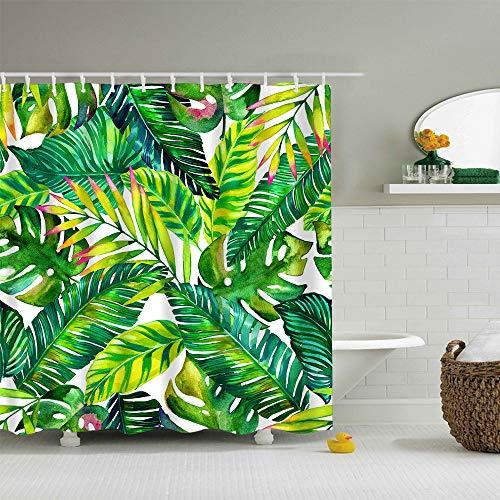 Galy Jungle Tropical Palm Blätter Duschvorhang,Grünes Monstera Blumen Weißer Hintergrund Badewanne Vorhang Polyestergewebe Anti Schimmel Antibakteriell Wasserdicht,mit 12 Bunte Vorhanghaken (Hintergrund Duschvorhang)