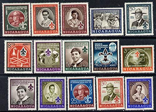 Nicaragua 1957 Birth Centenary of Lord Baden Powell set of 15 u/m, SG 1263-77 SCOUTS KNOTS PERSONALITIES JandRStamps - Powell Set