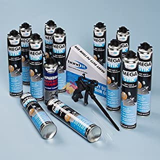 Bond It Mega Stik 750ml Plasterboard Adhesive X 12 With Gun & Cleaner
