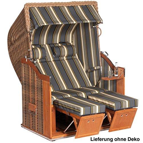 Sonnenpartner Strandkorb Classic 2Sitzer Halbliegemodell inkl. Ausstattung marone