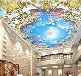 Wongxl Benutzerdefinierte Hintergrundbilder Home Dekorative Fresco Blue Sky White Cloud Kirschbaum 3D Zenith Wandbild Decke 3D Wallpaper Foto 3D Tapeten Fresko Wandmalerei Mural Wallpaper 200cmX100cm