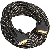 MagiDeal DVI-D 24+1 Dual Link Male to Male Cable, Digital Video Cable Gold Plated with Ferrite Core Support 1920 x 1200 for Gaming, DVD, Laptop, HDTV and Projector 15m