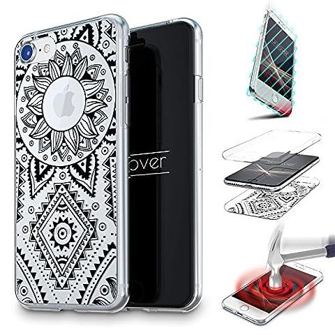 URCOVER® Coquille Tactile 360 degrés | Samsung Galaxy J5 2016 | Dream Catcher Mandala in Noir | Silicone Transparent Doux Protection Écran 3d Étui Housse Mince Tribal