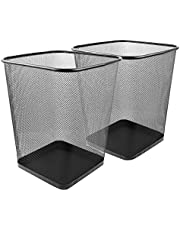 Callas Metal Mesh Square Wastebasket for Home, Kitchen and Office(Black, Large) - Set of 2