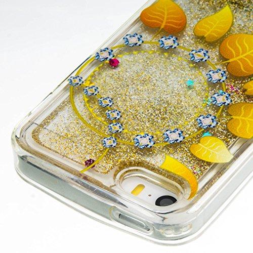 Per iPhone 5S/SE/5 Custodia Cover,SKYXD Lusso Bling Brillantini Glitter Strass Coperture Protettiva Trasparente Silicone Morbida TPU Gel Colorata Creativo 3D Disegni Flusso Liquido Sabbia Caso Case de Foglia doro