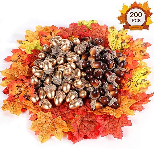 Tacobear Herbst Deko Set inklusive 100Stk. künstliche Eicheln und 100Stk. Künstliche Ahornblätter Herbstlaub für Thanksgiving Hochzeit Haus Dekoration