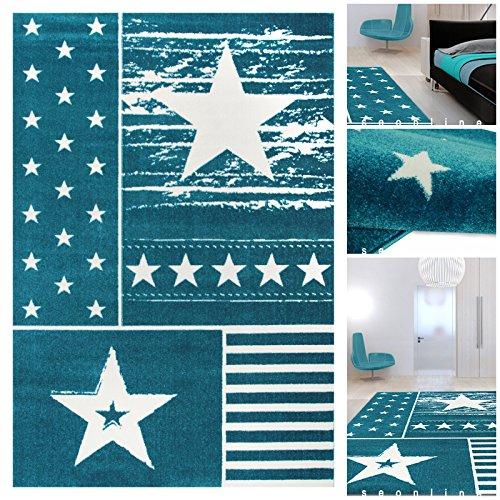 Kinderzimmer Teppiche Blau Weiss mit Sternchen | Teppiche m. ÖKO-TEX ...