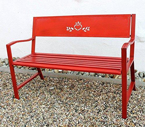 DanDiBo Bank Passion Gartenbank Rot 2 Sitzer 121496 Sitzbank 120 cm Metall Eisen Blumenbank Garten - 5