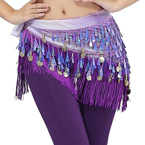 Brightup Dreieck Bauchtanz Hüften Schal Verpackungs Bund Gurt Rock Troddel, Purple, One (Tanzen Hellblau Kostüm Bauch)