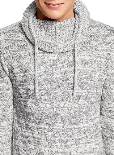 oodji Ultra Herren Strukturierter Pullover mit Voluminösem Kragen Grau (2000M)