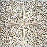 Dipinto a mano in polistirene espanso per soffitto retro 76bianco–oro