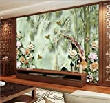 Y-Hui 3d large wallpaper wallpaper mural TV backdrop seamless living room bedroom peony flowers rich bamboo,180cmX120cm