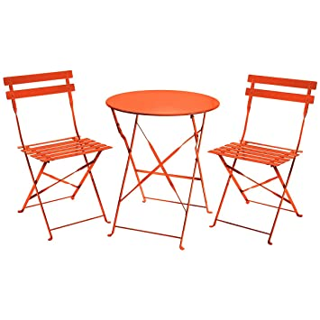 charles bentley 3 piece folding metal bistro set garden patio furniture round table 2 chairs
