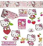 Unbekannt 16 TLG. Set _ Wandtattoo / Sticker + Wandbordüre -  Hello Kitty  - Wandsticker - Aufkleber für Kinderzimmer - selbstklebend + wiederverwendbar - Kinder - Mä..