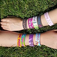 10 x Personalised Cotton Festival Style Wristbands with toggle - Any design - Any wording - Any occasion