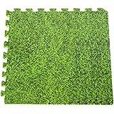 Gre MPF509GR - Protector de suelo de piscina en Polietileno, 9 piezas de 50x50cm, imitación hierba