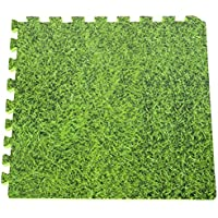 Gre MPF509GR Mousse en Puzzle (Lot de 9 Dalles) Imitation Gazon, Vert, 50 x 50 x 0,8 cm