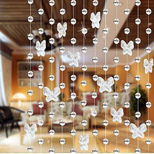 Beaded Curtains - Black Light Reactive Neon Butterflies Door Beads ...