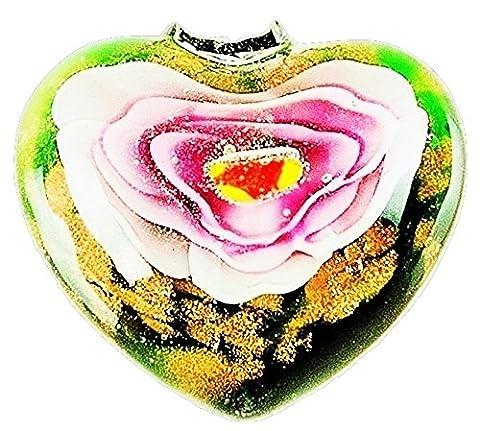 RKC Delightful SUMMER GREEN PINK FLOWER on GOLD HEART Pendant