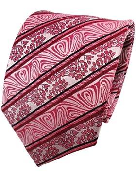 TigerTie Cravatta in seta - rosso lampone nero argento striato - Cravatta in seta