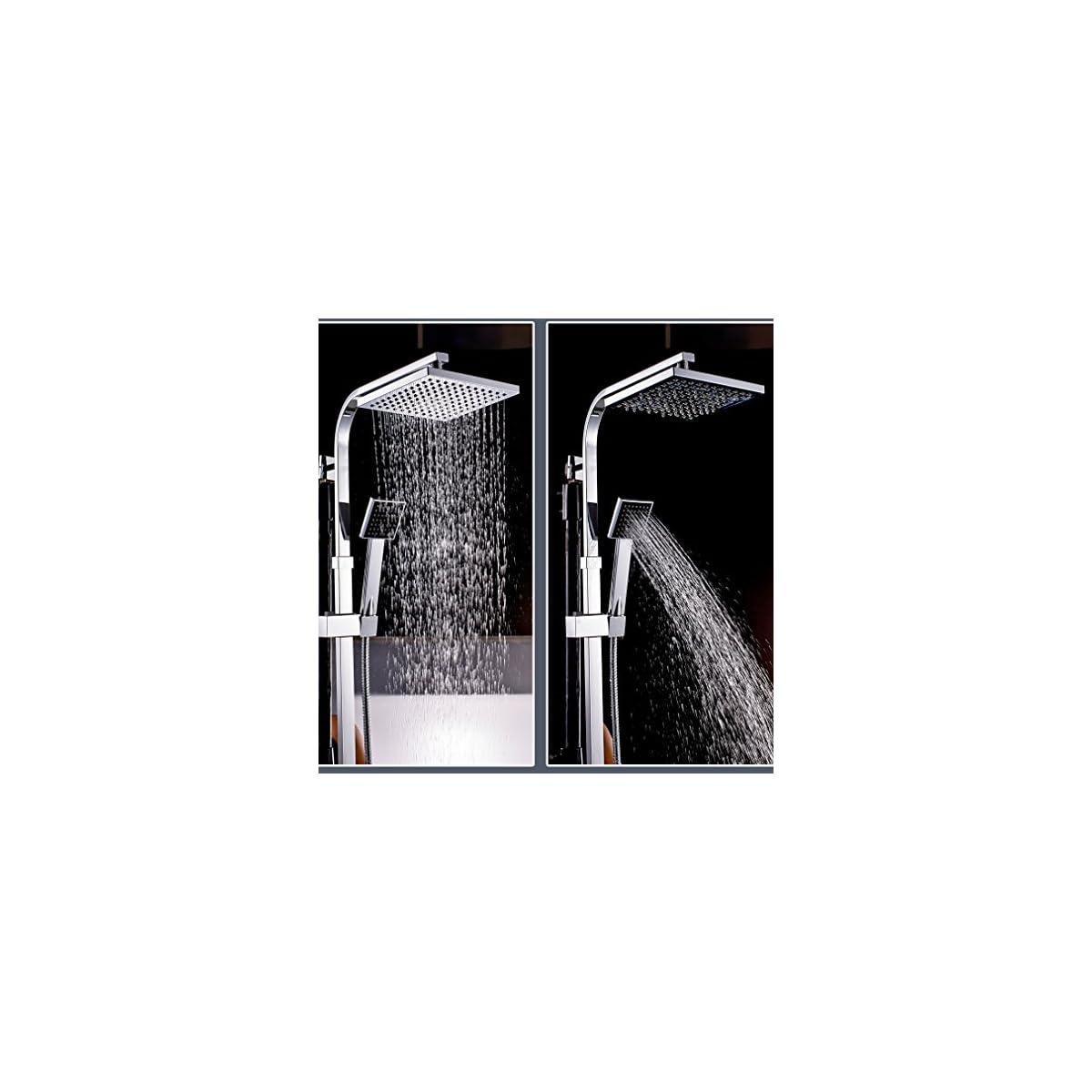 61M683qC3yL. SS1200  - Auralum® Sistema de Ducha Columna de Ducha Cuadrada con Grifería Termostática