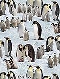 Fat Quarter Pinguine Schnee Winter Baumwolle Quilten Stoff