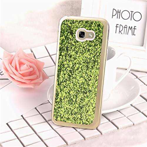 Coque Samsung Galaxy A5 2017,Coque Galaxy A5 2017 Transparent Liquid Crystal Ultra Fine Premium Souple TPU Silicone avec 360° Support de Téléphone,Etsue Galaxy A5 2017 Luxury Plating Rose Coque Paille Vert