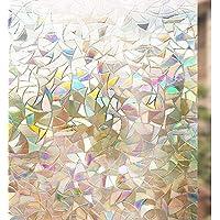 rabbitgoo 3D Non-Adhesive Window Film Decorative Privacy Static Clings Window Stickers Glass Film 44.5CM x 200CM
