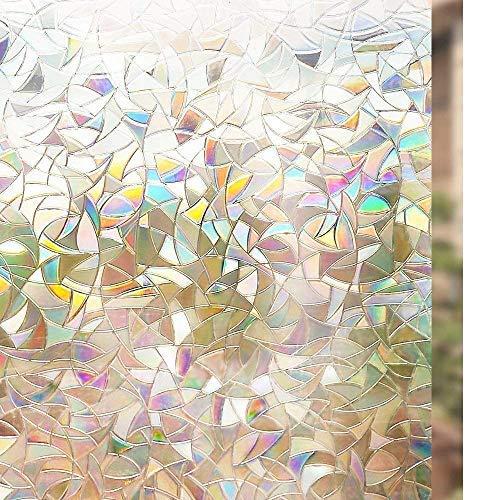 Rabbitgoo® Film pour Vitre a Motif Film Adhésif pour Fenêtre Décoratif Anti-UV 44.5cm × 200cm Film a Couleur Repositionnable Statique 3D Autocollant Effet Arc-en-Ciel
