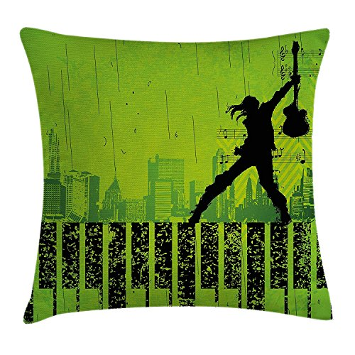 KLYDH Popstar Party Throw Pillow Cushion Cover, Music in The City Theme Singer with Electric Guitar on Grunge Backdrop, Decorative Square Accent Pillow Case, 18 X 18 inches, Lime Green Black (City Ut Party)