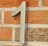 nanook Hausnummer 1 Style XL - 3D-Design - Edelstahl gebürstet - 19,5 cm